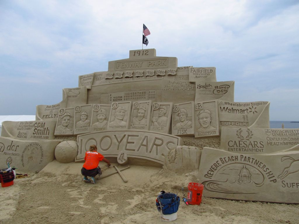 Sand sculpture in honor of Fenway Park's 100th anniversary this year.