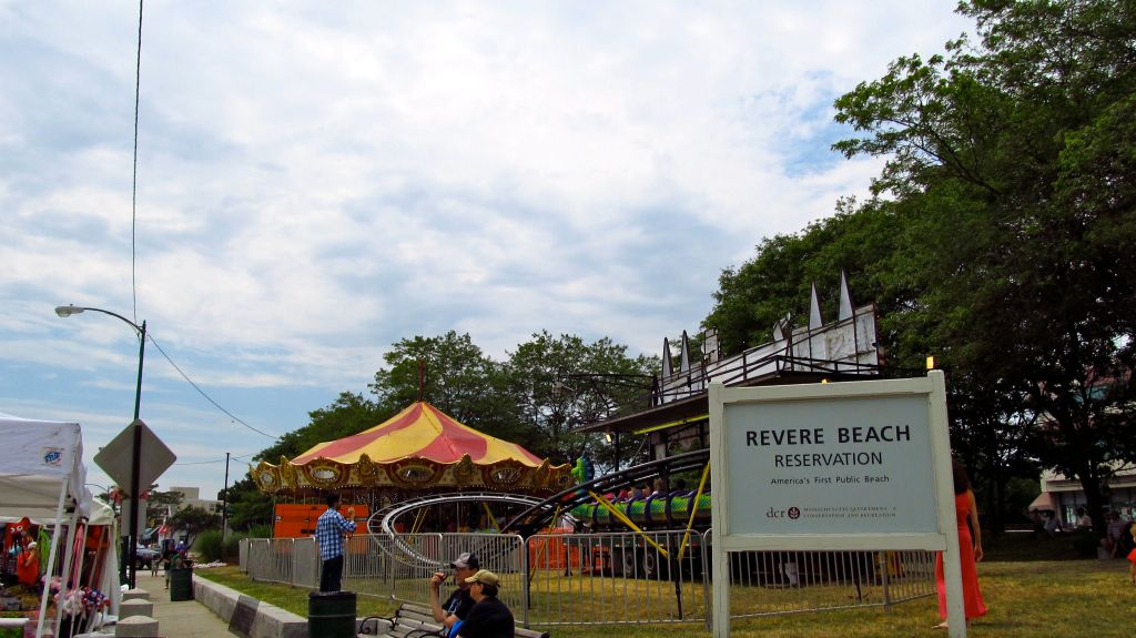 carousel and roller coaster at Revere Beach