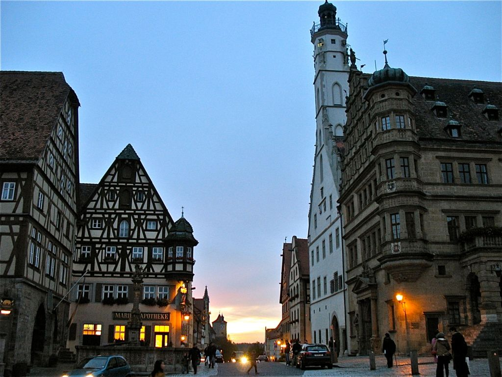 Rothenburg town square at dusk