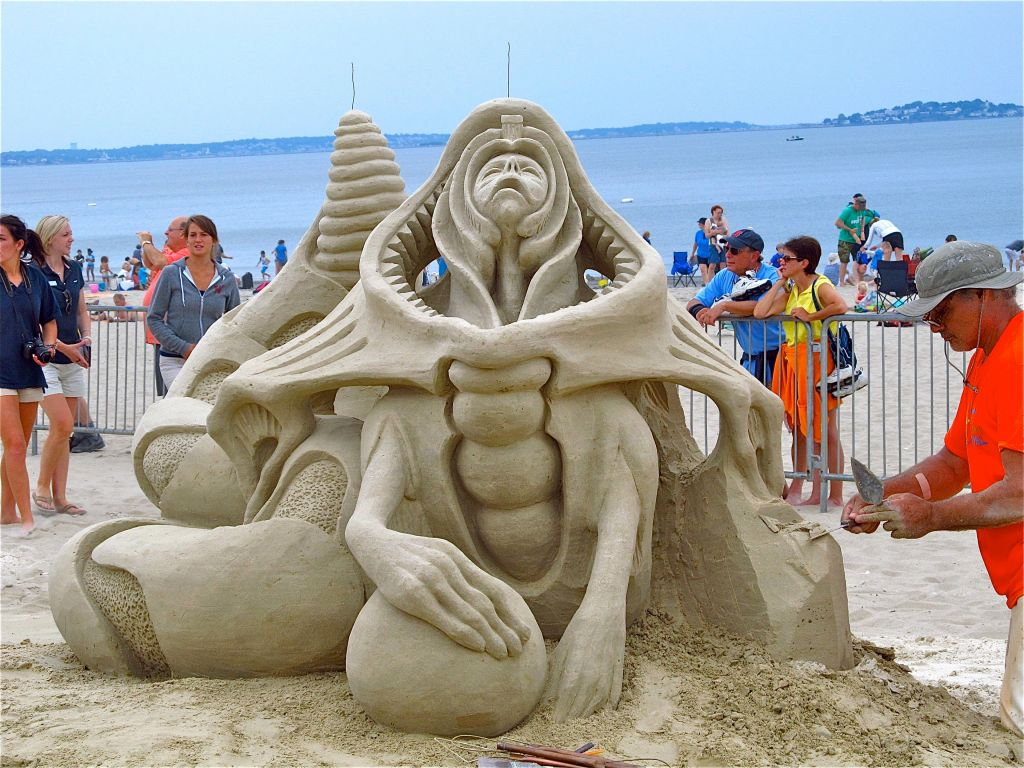 creepy sand creature at Revere Beach
