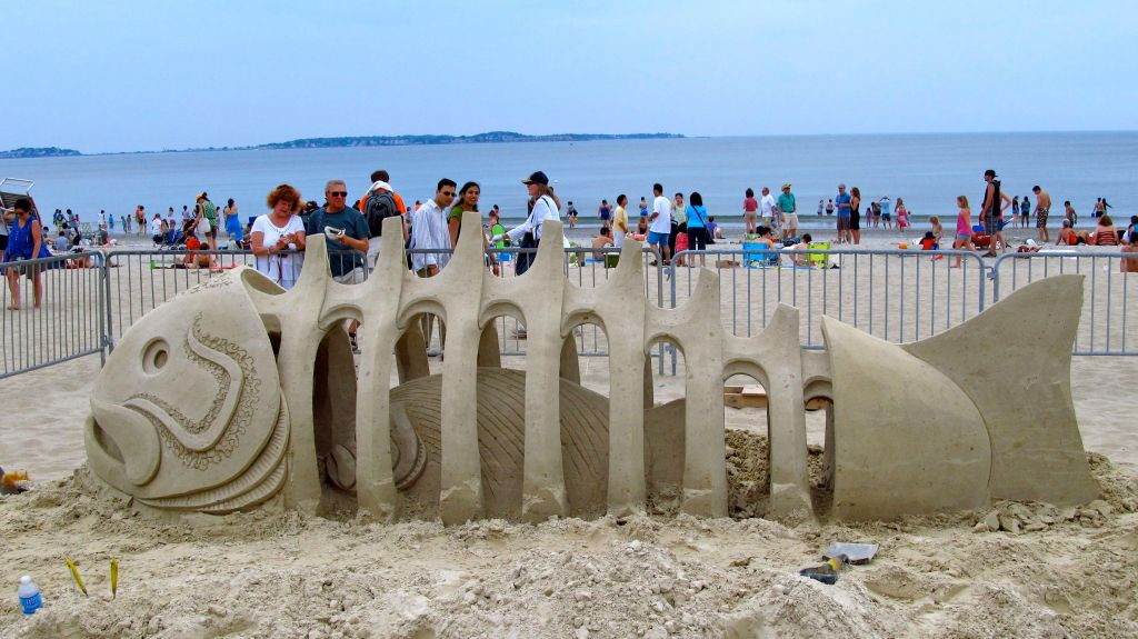 fish sand sculpture at Revere Beach