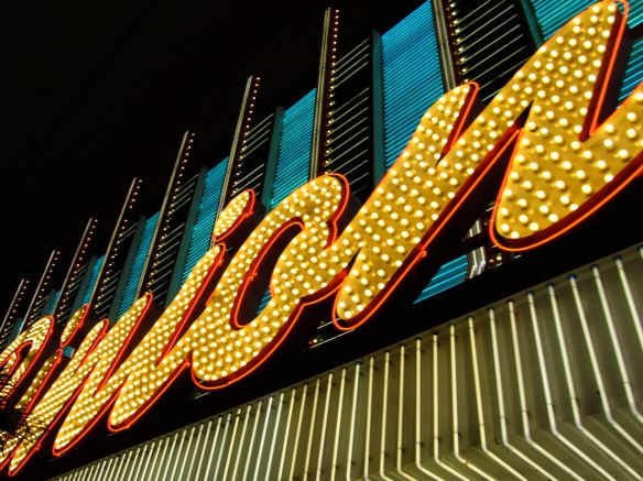 neon sign for Binion's casino in Las Vegas