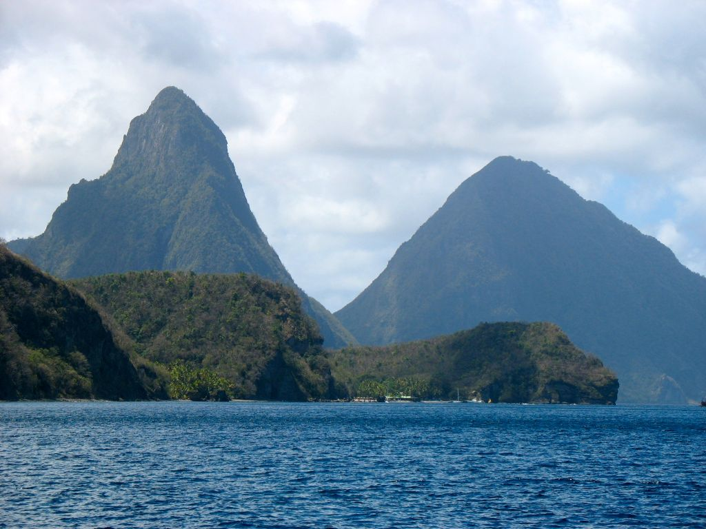 St Lucia's Pitons from the water