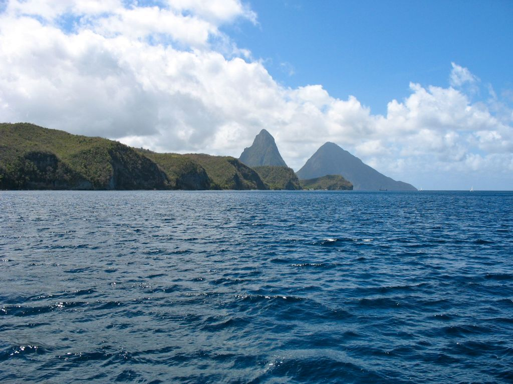 Pitons from the water in St Lucia