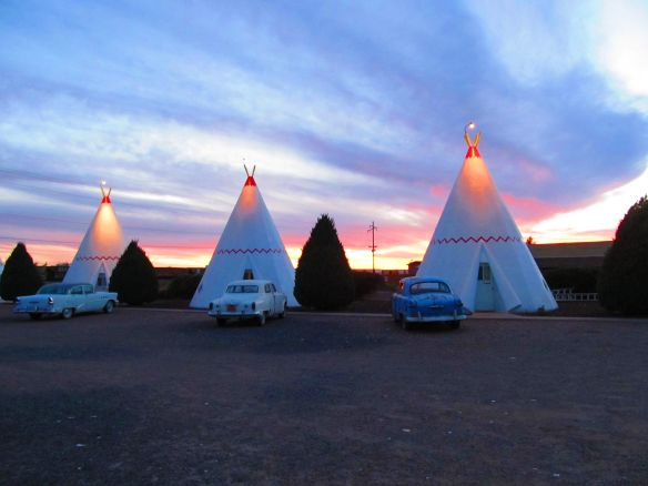 wigwam motel at sunset