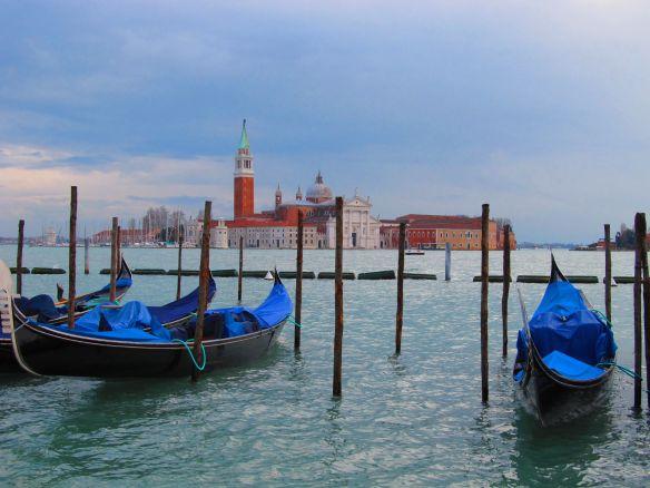 venice gondolas in winter