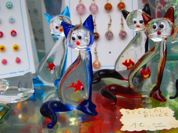 Fun blown glass cats in a Murano shop