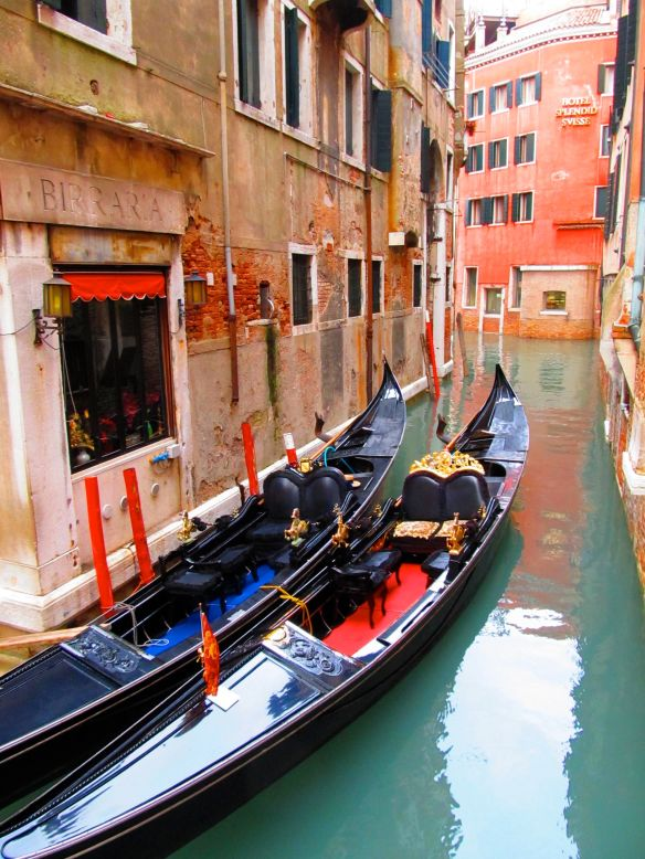 colorful venice canal in winter